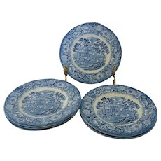 Six Staffordshire Liberty Blue Monticello Bread and Butter Plates