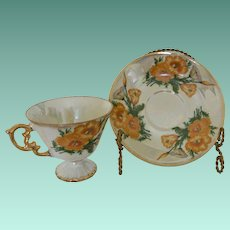 """August Poppy"" Flower of The Month Mid Century Lustreware Cup and Saucer Set"