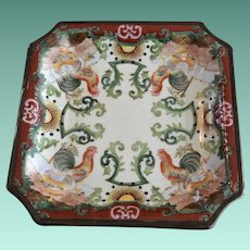 Hua Rong Tang Zhi Chinese Square Enameled  Ironstone Tray of Roosters