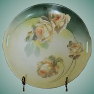 R.S. Germany Cake Plate - Yellow Roses on Green - Blue Backstamp