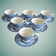 Set of Six Staffordshire Liberty Blue Cups and Saucers
