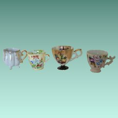 Mixed Group of Four Vintage Porcelain Demitasse Cups