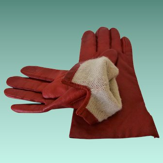 Soft Red Leather Lined Women's Gloves Size 7 (Medium)