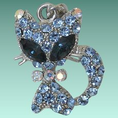 Cat Figure Necklace Pendant in Blue Rhinestones