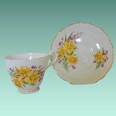Cup and Saucer Set Consort England Yellow Daffodils No. 4485