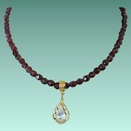 1928 Company Garnet Glass Necklace with Teardrop Rhinestone Pendant
