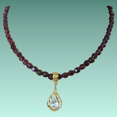 1928 Company Garnet Glass Necklace with Teardrop Rhinestone Pendant