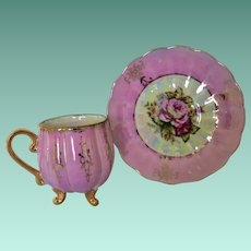 Pink Roses Lusterware Demitasse Cup and Saucer
