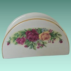 Porcelain Napkin Holder with Roses Decoration