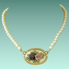 1928 Company Roses Cameo Faux Pearls Necklace