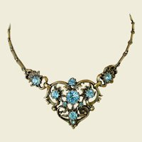 Coro Mid Century Antiqued Gold Tone Blue Rhinestones Necklace