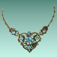 Coro Mid Century Antiqued Gold Tone Blue Rhinestones Necklace