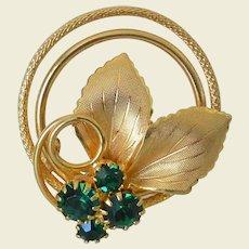 Retro Revival Gold Tone Leafy Pin Green Rhinestones