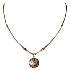 Chinese Cloisonne Enamelled Pendant Necklace