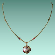Chinese Cloisonne Enamelled Pendant Necklace