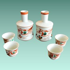 All Hand Painted Saki Set Service for Four Phoenix Bird and Flowers Theme