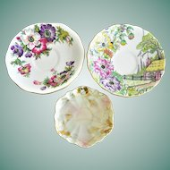 "Three Assorted Fine Porcelain Cup Saucers English ""Anemone"", ""Rosina"" and Kutani Japan"