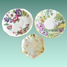 "Three Assorted Fine Porcelain Cup Saucers English ""Anemone"", ""Rosina"" and Kutani Japan"