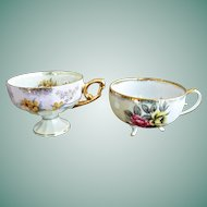 Two Porcelain Luster Ware Tea Cups Floral Decorations