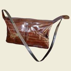 Women's Eel Skin Maroon Brown Color Shoulder Handbag