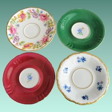 Four Collectible Porcelain Saucers Bavaria Germany England
