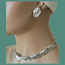 Monet 1950's Demi Parure Necklace and Earrings Feathered Wing Motif
