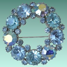 Tri Colored Blues Classic Rhinestones Eternity Brooch Pin