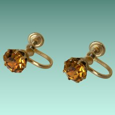 Citrine Yellow Rhinestone Screw Back Earrings