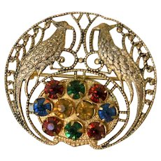 Early Czech Filigreed Birds Theme Pin with Colored Rhinestones