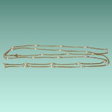 Long Golden Chain Necklace of Faux Pearls