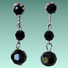 Black Glass Beads Dangle Earrings