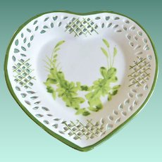 Heart Shaped Dish with Pierced Rim and Green Decorations