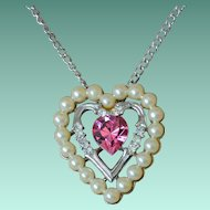 Vintage Avon Three Hearts Pink Rhinestone with Faux Pearls Necklace
