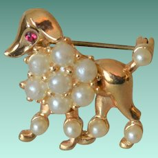 French Poodle Dog Pin with Faux Pearls and Rhinestone