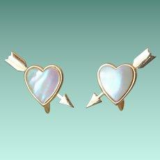 Love Struck Heart and Arrow Screw Back Earrings