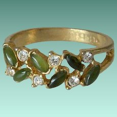 Vintage UNCAS Moss Green Stones and Rhinestones Ring Size 8