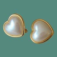 MONET Hearts Faux Pearl Cabochon Clip Earrings