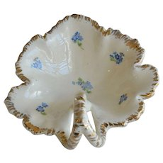 Early Century Glazed Pottery Serving Dish with Handle and Violet Flowers