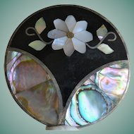 Vintage Mexico Abalone Shell Inlay Pin and Pendant Combination