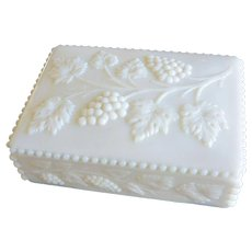 Westmoreland Beaded Milk Glass Grapes Pattern Cigarette Box