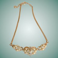 Marquis Rhinestone Faux Pearls Segment Necklace