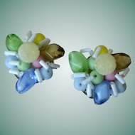 W. Germany Art Glass Clip Earrings