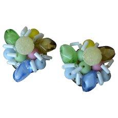 W. Germany Art Glass Clip Earrings