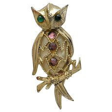 Mother of Pearl Bellied Owl Figure Pin