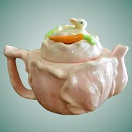 Bunny Rabbit on a Cabbage Ceramic Art Tea Pot