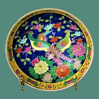 Japanese Porcelain Bowl with Green Pheasant Birds