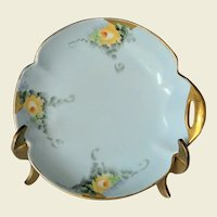 California Artist Ethel Stapp Hand Painted Dresser Dish of Yellow Roses