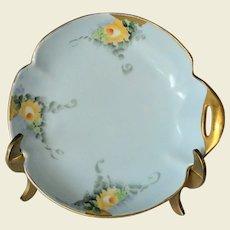 California Artist Ethel Stapp Hand Painted Dresser Dish of Yellow Roses
