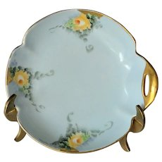 California Artist Ethel Stapp Hand Painted Dish of Yellow Roses