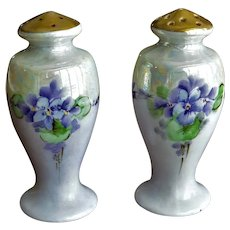 Salt and Pepper Shakers with Hand Painted Violet Flowers